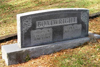 Phelps Wilson and Cora L. Boatwright Gravestone