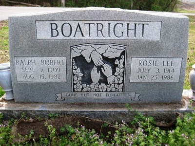 Ralph Robert and Rosie Lee Lovell Boatright Gravestone