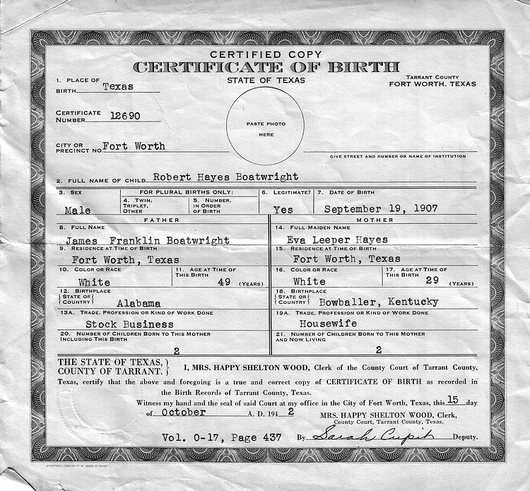 Robert Hayes Boatwright Birth Certificate: