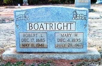 Robert Lee and Mary Agnes Heffner Boatwright Gravestone