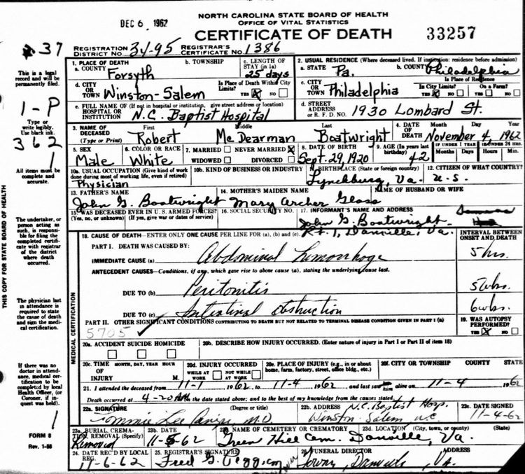 Robert McDearman Boatwright Death Certificate: