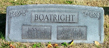 Robert Raymond Boatright and Vinnie Jewel Snow Gravestone