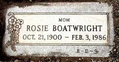 Rosie Edgar Boatwright Gravestone