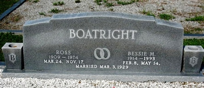 Ross and Elizabeth Mae Moore Boatright Gravestone: