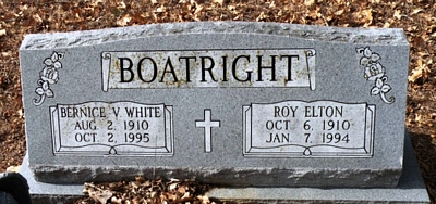 Roy Elton and Bernice V. White Boatright Gravestone
