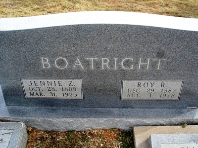 Roy Roscoe and Jennie Z. Heard Boatright Gravestone