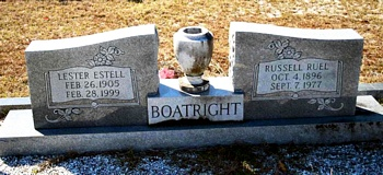 Russell Ruel and Lester Estelle Musgrove Boatright Gravestone