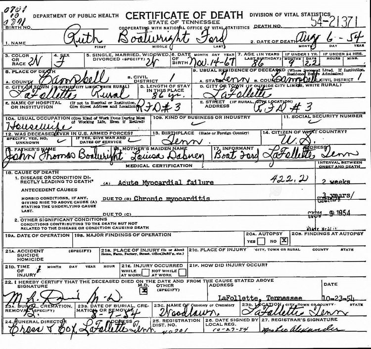 Ruth Bertha Boatright Ford Death Certificate: