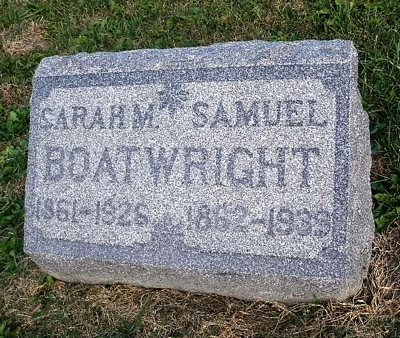 Samuel and Sarah Mariah Bradley Boatwright Gravestone: