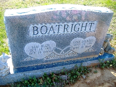 Samuel Hugh and Lina M. Vickers Boatright Gravestone