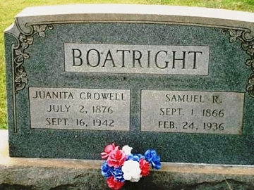 Samuel Richard Boatright and Waunetta Mims Crowell Gravestone