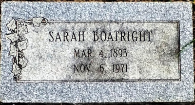 Sarah E. Miracle Boatright Gravestone