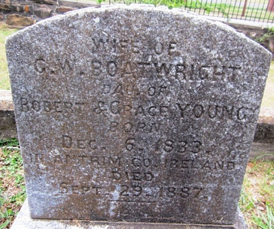 Sarah J. Young Boatwright Gravestone