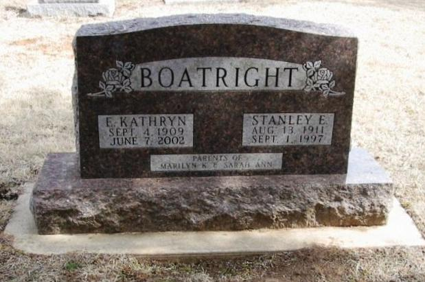 Stanley E. Boatright and Eva Kathryn McNulty Gravestone
