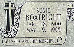 Susie Boatright Gravestone