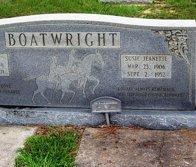 Susie Jeanette Shiraw Boatwright Gravestone