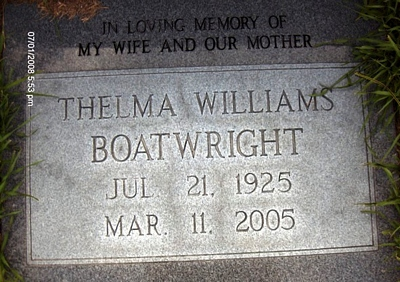 Thelma Jeanette Williams Boatwright Gravestone