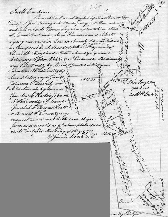 Thomas Boatwright Land Plat 1775: