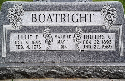Thomas Carl and Lilly Emily Snow Boatright Gravestone