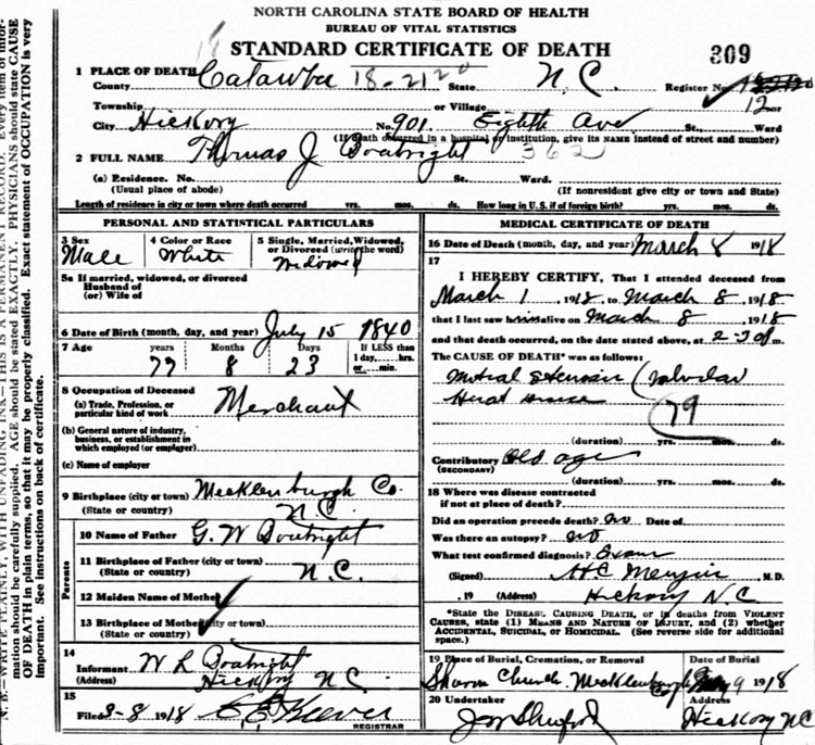 Thomas Jefferson Boatright Death Certificate: