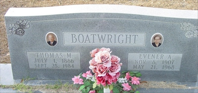 Thomas Moses and Evener Muriel Adams Boatwright Gravestone