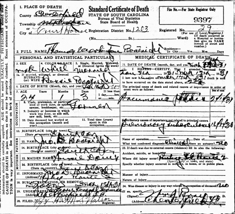 Thomas Washington Boatwright Death Certificate