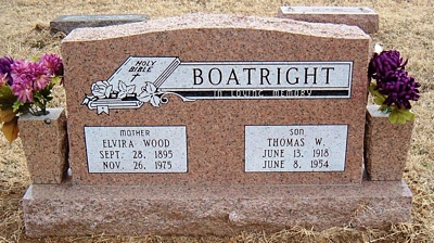 Elvira Wood Boatright Gravestone