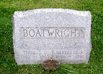 Thomas Oleth Boatwright and Gertrude May Lamb Gravestone
