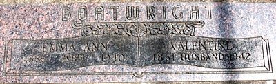 Valentine and Emma Ann Herr Boatwright Gravestone