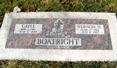 Vernon Hugh and Gayle Whitley Boatright Marker