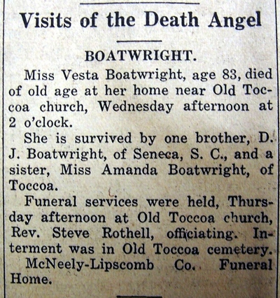 Vesta Boatright Obit