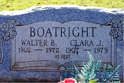 Walter B. and Clara Julie Croft Boatright Gravestone