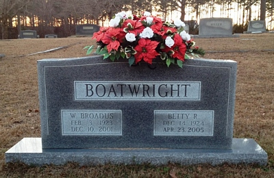 Walter Broadus and Betty Jane Rollings Boatwright Gravestone