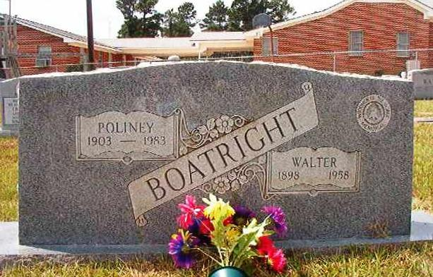 Walter Cleaton Boatright and Poliney Gravestone