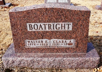 Walter Edcar and Clara A Frantz Boatright Gravestone
