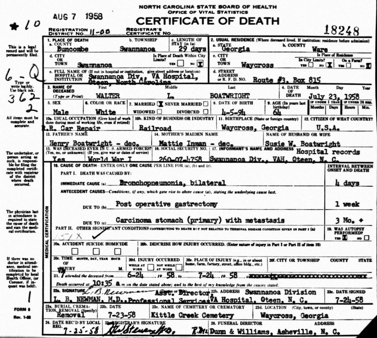 Walter L. Boatwright Death Certificate: