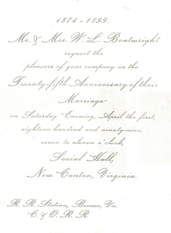 Walter Leake Boatwright and Mary Alice Putney Invitation