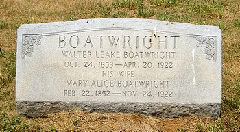 Walter Leake Boatwright and Mary Alice Putney Gravestone