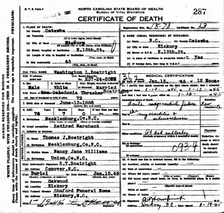 Washington Leander Boatright Death Certificate: