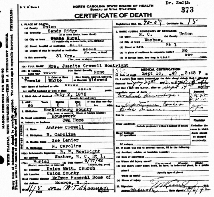 Waunetta Crowell Boatright Death Certificate:
