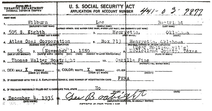 Wilburn Lee Boatright Social Security Application: