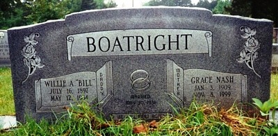 Willie Aubrey and Vera Grace Nash Boatright Gravestone
