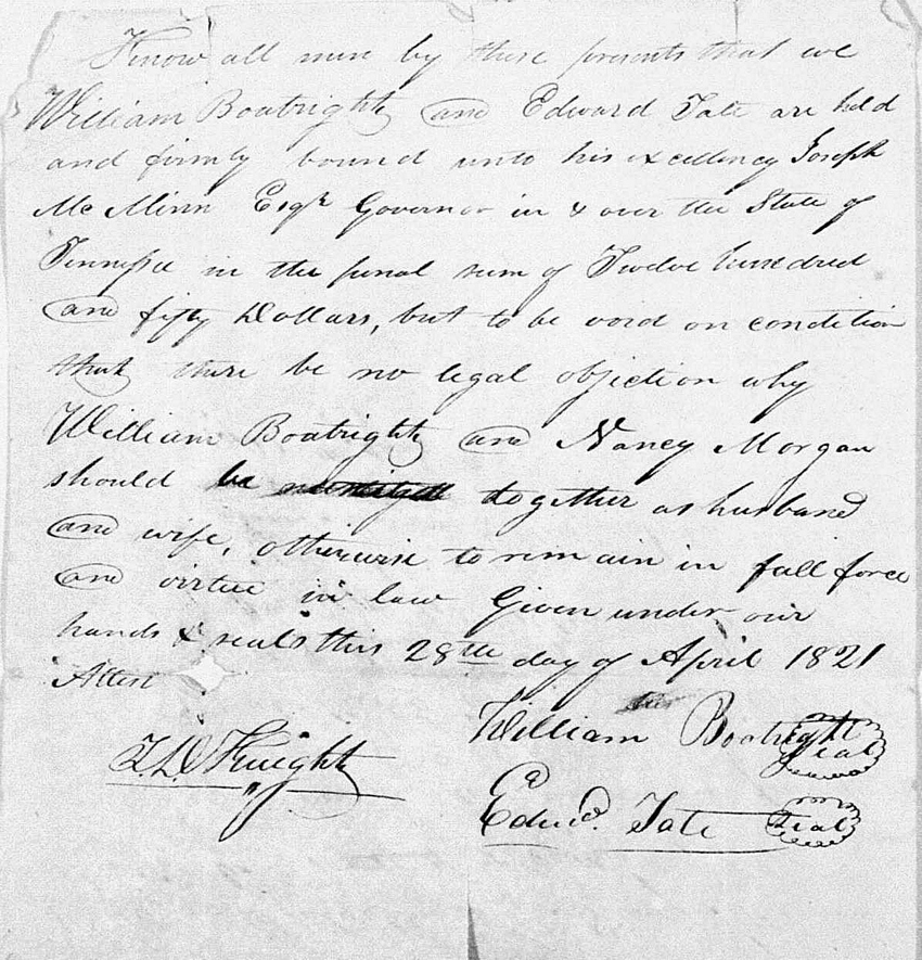 William Benjamin and Nancy Morgan Boatright Marriage Record: