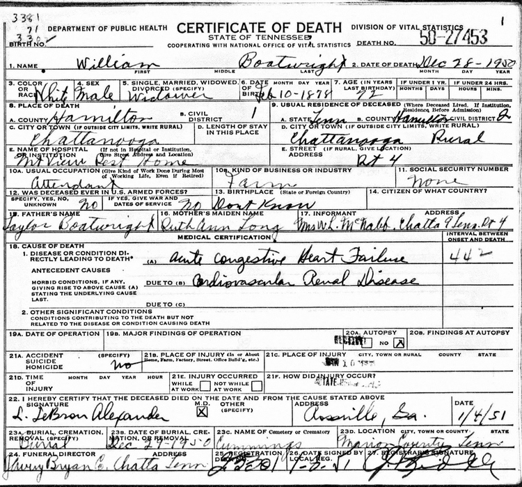 William Boatwright Death Certificate: