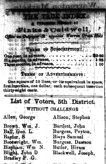 William Bootwright News story - Warrenton True Index - 04 Apr 1868