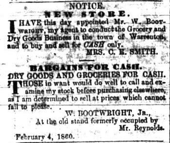 William Bootwright News story - Warrenton Whig - 05 May 1860