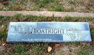 William Chesley and Cora Myrtle Graham Boatright Marker