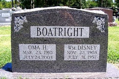 William Disney Boatright and Oma H. Carter Gravestone