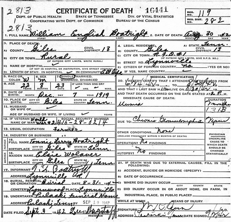 William English Boatright Death Certificate: