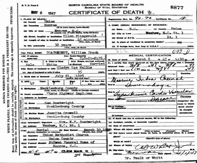 William Franklin Boatright Death Certificate: